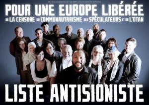 Ginette Hess-Skandrani (juste à coté de Dieudonné) sur une affiche du Parti Anti-Sioniste