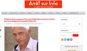 La lettre ouverte à Hollande sur arretsurinfo.ch