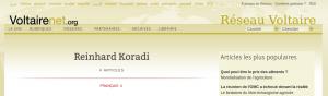 Reinhard Koradi sur le site du réseau Voltaire