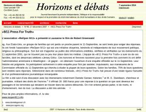 """Horizon et Débats faisait déjà la promotion de la venue de """"9/11 press for truth"""" à Lausanne"""