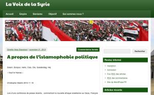 """Le texte de Christophe Oberlin sur """"La voix de la Syrie"""""""