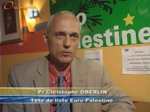Christophe Oberlin lors de sa campagne pour Europalestine